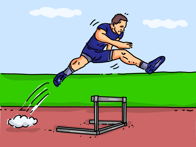 Drawing of runner jumping a hurdle
