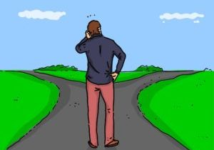 Drawing of man choosing between forks in a road